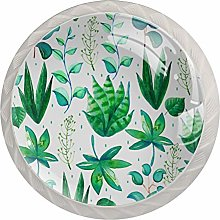 Aloe Green Plant White Crystal Drawer Handles