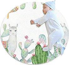 Alpaca, Round Area Rug Pattern Round Children Area
