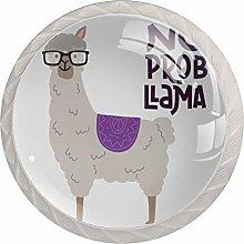 Alpaca with Glasses Drawer Knob Pull Handle Round