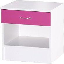 Alpha Pink & White Bedside Cabinet, Wood,