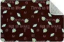 Alphabet Leaves Door Mat, Machine Washable Soft