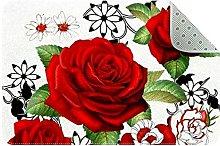 Alphabet Rose Door Mat, Machine Washable Soft