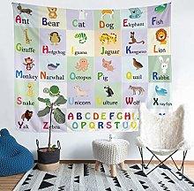 Alphabet Tapestry Cartoon Animals Print Tapestry