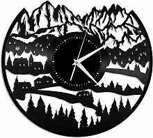 Alps_Mountain vinyl wall clock, vinyl record home