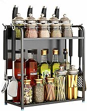 Alqn 2 Tier Spice Rack for Spice Can Sauce Jars
