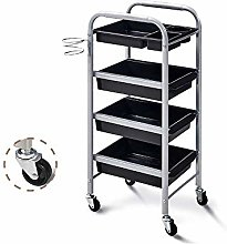 Alqn Beauty Trolley, Silver Multi-Layer Steel