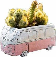 Alqn Cartoon Car Toys Plant Flower Pot Bus Two