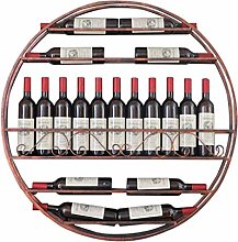 Alqn Retro Round Wall Hanging Wine Rack Red Copper