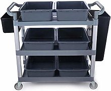 Alqn Service Cart, 3-Layer Collection Car Plastic