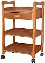 Alqn Solid Wood Beauty Cart, 3-Layer Nail Tool Car