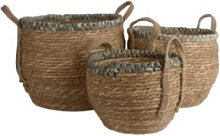 Alresford Linen Company - Straw Basket With Grey