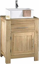 Alta 600mm By 500mm Solid Oak Vanity Unit Bathroom