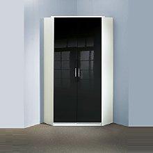 Alton Gloss Black Corner Wardrobe In Alpine White
