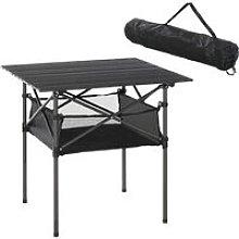 Aluminium Folding Camping Table w/ Mesh Shelf Bag
