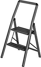 Aluminium folding step ladder, compact 2-step dark