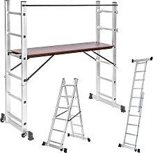 Aluminium multi-purpose ladder with scaffold -