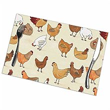 Alvahw Chicken Placemats For Dining Table Set Of 6