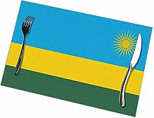 Alvahw Flag Of Rwanda Placemats For Dining Table