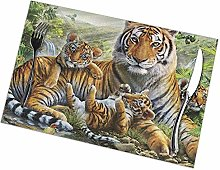 Alvahw Jungle Tigers Cub Print Placemats - Dining