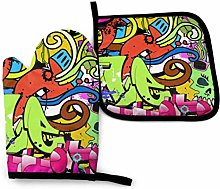 Alvahw Oven Mitts Potholders Funky Wall Art Oven