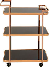 Alvara 3 Tier Bar Trolley In Rose Gold With Black