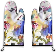 Alvaradod Oven Mitts 2pcs,Abstract Flower