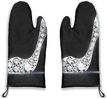 Alvaradod Oven Mitts 2pcs,Abstract Silver Jewelry