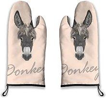 Alvaradod Oven Mitts 2pcs,Animal Farm Donkey Grey