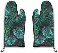 Alvaradod Oven Mitts 2pcs,Exotic Tropical Green