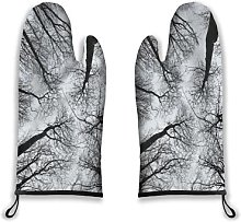 Alvaradod Oven Mitts 2pcs,Forest,Scary Winter Tops