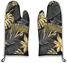 Alvaradod Oven Mitts 2pcs,Gold and Black Tropical