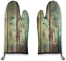 Alvaradod Oven Mitts 2pcs,Green Rustic Old Wood