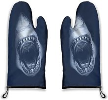 Alvaradod Oven Mitts 2pcs,Ocean Animal Dark Deep