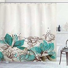 Alvaradod Turquoise Shower Curtain,Retro Floral