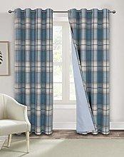 Always4u Design Checked Curtain 100% Opaque