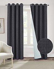 always4u Linen Look Curtains 100% Blackout