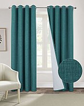 always4u Teal Curtains 100% Blackout Curtains for