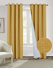 always4u Yellow Curtains 100% Blackout Curtains