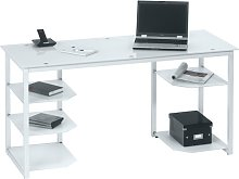 Alyssa Glass Computer Desk In White With Metal