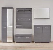 Amanda Hallway Furniture Set In Grey High Gloss