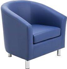 Amanda Leather Look Tub Armchair, Dark Blue