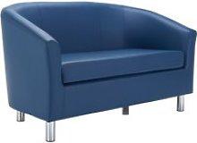 Amanda Leather Look Tub Sofa, Dark Blue