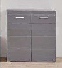 Amanda Shoe Storage Cabinet In Grey High Gloss