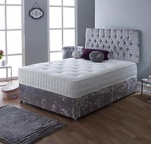 Amani Crushed Velvet Silver Diamante Divan Bed