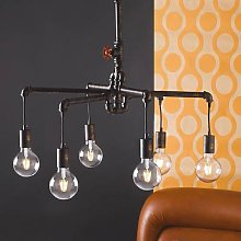 Amarcord hanging light, rusty brown, 6-bulb
