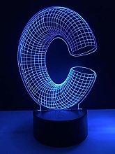 Amazing 3D Lamp Alphabet Letter C Multicolor Desk