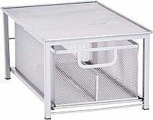 Amazon Basics Mesh Sliding Basket Organizer, Silver