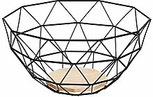 Amazon Basics Metal Wire Fruit Basket with Wooden