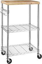 Amazon Basics Microwave Cart on Wheels, Wood/Chrome