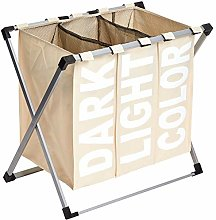 Amazon Basics Triple Laundry Basket Hamper, Beige